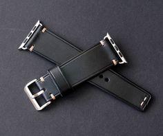 Apple Watch Band. Black leather watch strap by VladislavKostetskyi