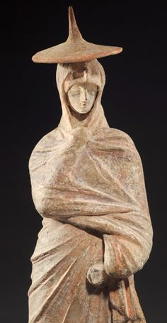 Terracotta statuette of a woman of Fashion; H: 27 cm. Wearing a sun hat and wrapped in a himation. Greece Culture, Hellenistic Period, Egyptian Art, Ancient Art, Anthropology, Terracotta, Sculpture, Statue, Woman