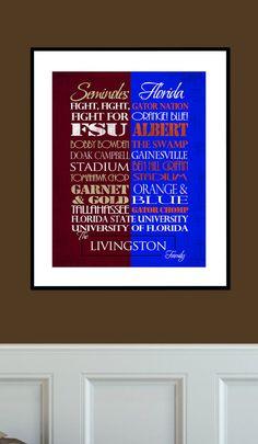 Florida State Seminoles / University of Florida Gators House Divided Print FSU UF House Divided!