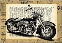Harley Davidson Motorcycle Illustration Gift Collage Print on old Dictionary Page Low Price on Etsy, $10.00