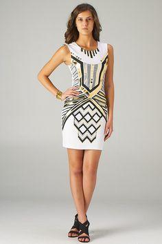 Lavishville - Black and Gold Aztec Print Bodycon Dress (White), $28.00 (http://www.lavishville.com/black-and-gold-aztec-print-bodycon-dress-white/)