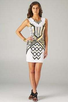 Black and Gold Aztec Print Bodycon Dress (White) - Front