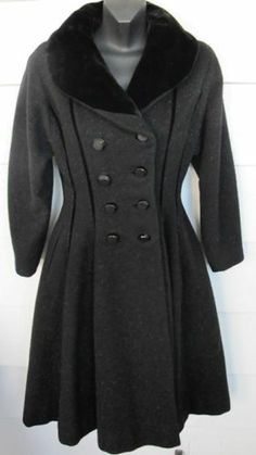 Vintage Lilli Ann Black Gored Flared Velvet Collar Coat