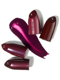 Love the plum! 1.Smashbox Be Legendary Lipstick in Black Plum 2. CoverGirl Queen Collection Lipcolor in Fine Wine 3. Obsessive Compulsive Cosmetics Lip Tar in Dekadent 4. Yves Saint Laurent Beaute Rouge Pur Couture Mat Lipstick in Prune Avenue 5. Revlon Super Lustrous Lipstick in Black Cherry