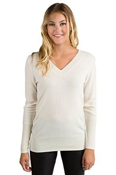 b28237d3416e JENNIE LIU Womens 100 Pure Cashmere Long Sleeve Ava V Neck Sweater S Cream