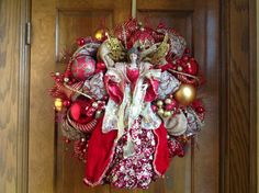 Elegant Red and Gold Angel Wreath by HertasWreaths on Etsy