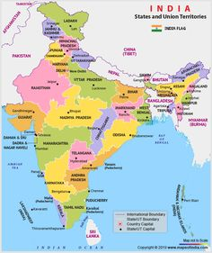 India Political map shows all the states and union territories of India along with their capital cities. political map of India is made clickable to provide you with the in-depth information on India. India World Map, India Map, India India, World Maps, Full World Map, World Political Map, New Life, General Knowledge Book, Gk Knowledge