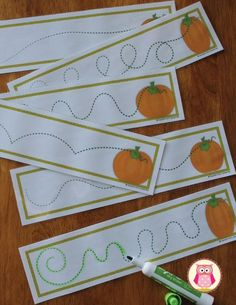 """Free pumpkin patch pre-writing practice cards. A great way to work on fine motor skills and manual dexterity. Kids can trace the pumpkin's vine with a dry erase marker, crayon, wikki stix, or coil of play dough. <a href=""""https://www.teacherspayteachers.com/Product/Pumpkins-Pre-Writing-Cards-FREEBIE-Fall-Fine-Motor-Practice-for-ECE-2107997"""" rel=""""nofollow"""" target=""""_blank"""">www.teacherspayte...</a>"""