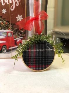 Literally, material, embroidery hoop and ribbon are all you need to create a super cute DIY ornament for your holiday decor. Christmas Tree Base, Dollar Tree Christmas, Plaid Christmas, All Things Christmas, Christmas Tree Decorations, Country Christmas, Christmas Ornaments, Holiday Decor, Christmas Projects