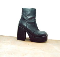 90s Black Leather Chunky Platform Ankle Boots 1990s by Idlized