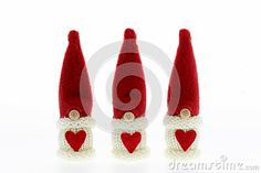 Cute three Santa's Christmas decoration isolated on white
