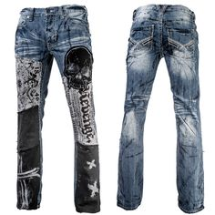 Custom Pants Dirty Blue Jeans Skull and Cross WSCP-122 MTO
