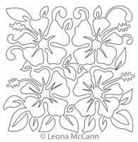 Digital Quilting Design Hawaiian Flower Block 12 by Leona McCann.
