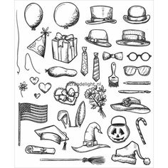 Tim Holtz | Tim Holtz Cling Rubber Stamp Set; Crazy Things | Scrapdelight Scrapbookwinkel