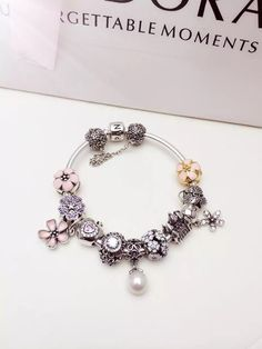 $299 Pandora Sterling Silver Charm Bracelet CB01655
