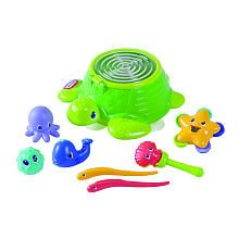 Lots of sea creatures to make a song or sing along in the tub! Includes: Whale whistle, shark guiro, starfish tambourine, seahorse rain stick, blowfish maraca, clam castanets and a turtle drum. Instruments store inside the drum of the turtle.