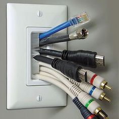 The Chic Technique: Brush wall plate. Use this to hide cable behind wall after mounting TV. Hidden Tv, Wall Mounted Tv, Mounted Tv Decor, Mounting Tv On Wall, Home Theater, Theatre, Plates On Wall, Home Organization, Organizing