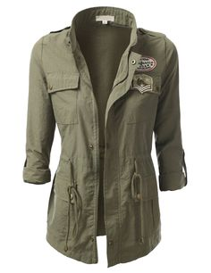 J.TOMSON Womens Trendy Military Cotton Drawstring Anorak Jacket OLIVE LARGE