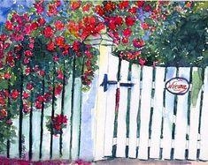 Picket gate | Etsy White Picket Fence, Picket Gate, Picket Fences, White Fence, Watercolor Print, Watercolor Paintings, Watercolours, Red Flowers, Red Roses