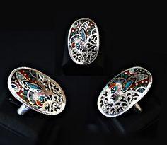 - Ring - Breite 2,0/3,5 - Material 999er Silber - Email, Blattsilber - Größe: 18