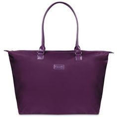 Lipault Purple Lady Plume Tote -  Purple ($85) ❤ liked on Polyvore featuring bags, handbags, tote bags, purple, handbags tote bags, weekend bag, purple tote, overnight bag and overnight tote bags