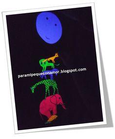 Para mi peque con amor: Complementos para la narración de cuentos: Personajes de A qué sabe la luna con luz negra