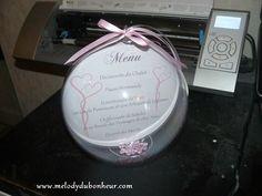 Menu boule 16cm pour un mariage sur le thème des bulles