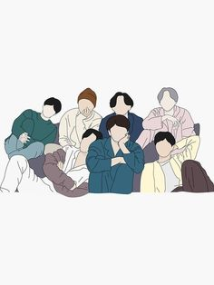Outline Art, Outline Drawings, Bts Drawings, Bts Laptop Wallpaper, Bts Tattoos, Bts Group Picture, Bts Aesthetic Pictures, Bts Chibi, Life Goes On