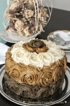 Chocolate Ombre Rose Cake with a Surprise - pure art on a plate.  I love LOOKING at it (obviously would eat it but be too intimidated to make this!)