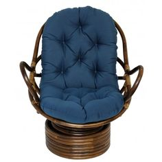 Rattan, Wicker, Bamboo Chairs | Rattan Swivel Rocker With Solid Cotton Duck  Fabric Cushion