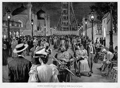 The Columbian Exposition, Chicago 1893 Ferris Wheel Chicago, Chicago Entertainment, World's Columbian Exposition, Rare Historical Photos, American Exceptionalism, Urban Decor, Sacred Architecture, White City, World's Fair