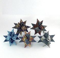 "Christmas star ornaments from permanently folded and woven plaid fabric. Large 3D stars 5"" wide by 3"" deep,  4 for $35   Hostess gift or beautiful Christmas decorations for your home"