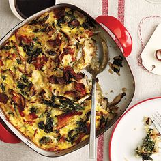 This dish is like enjoying an omelet stuffed with spinach, Swiss cheese, and mushrooms, with hearty sides of bacon and hash browns, all...