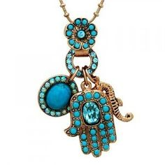 Utopia- Hand of Fatima Necklace - Made of Brass, the Hamsa Necklace Is 24k Gold Plated and Set with Semi-precious Stones, turquoise and Swarovski Crystals.hand of Fatima Amaro Inspired Style Jewelry, Provide Protection From the Evil Eye,$14.95