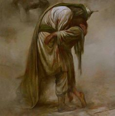 Romantic mourning - Farewell to nephew in Karbala ,Hassan Ruholamin, Oil on canvas, 2015 Allah, Battle Of Karbala, Imam Hussain Karbala, Imam Hussain Wallpapers, Karbala Photography, Middle Eastern Art, Islamic Paintings, Wood Paintings, Bravest Warriors