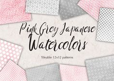 Grey Pink Watercolor Digital Paper by All is full of Love on @creativemarket