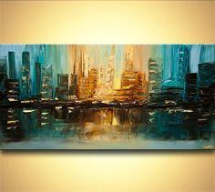 ORIGINAL Downtown Painting Teal Modern Acrylic por OsnatFineArt