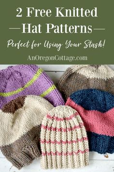Two easy and quick free knitted hat patterns that work for women men and kids depending on the yarn you use Both the patterns are great for beginners too knitting hats handmadegift giftidea Free Knitting Patterns For Women, Beginner Knitting Patterns, Knitting For Kids, Knitting For Beginners, Knitting Designs, Knitting Hats, Knitted Hat Patterns, Knitting Projects, Baby Knitting