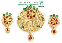 22K Gold  Uncut Diamond Pendant & Earrings Set with Ruby & Emerald