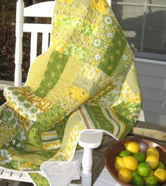 Lemons and limes - fresh colors - big pieces make quick quilts!