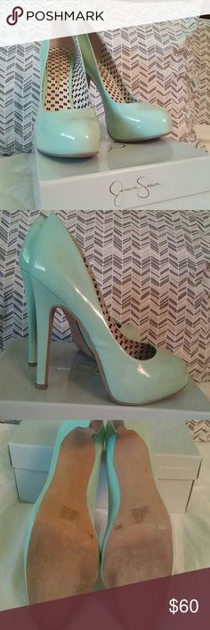 "Cool Mint Patent Leather 5"" Heels In excellent condition- Only worn twice. I love the color so Im sad to give them up but i have a difficult time walking in them and they dont get any use sitting in a closet for 2 years. Jessica Simpson Shoes Heels"