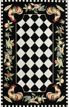 Rugs USA Serendipity Rooster Black Rug, kitchen rug perfection!