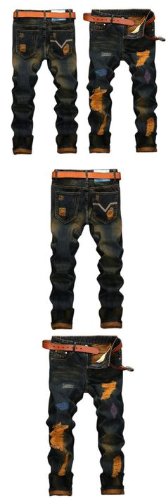 94cc06e5 Men's jeans high quality Straight Hole jeans men Casual Retro Slim Jeans  Pants ripped jeans for men denim trousers
