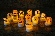 Jack-o-lanterns ping pong and tea light diy project. This would be good for anything really! Easter, x-mas, even birthdays!
