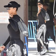 Rihanna Fenty Puma snap track pants, lace-up bodysuit, platform combat boots…
