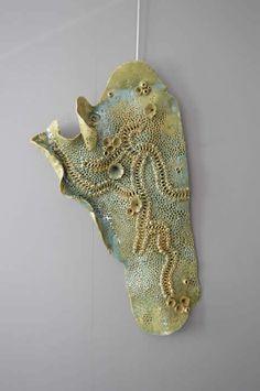 pastel green ceramic coral art