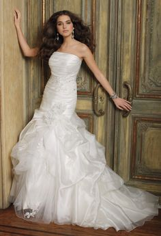 Strapless Organza Wedding Dress with Gathered from Camille La Vie and Group USA