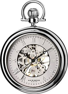 Akribos XXIV Mens AKR453SS Mechanical Skeleton Silver-Tone Pocket Watch