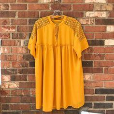 02124a09df0 NWT ZARA COMBINED GUIPURE DRESS Boho Tunic Curry Mustard Gold Yellow  3633 058 S
