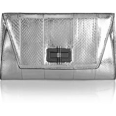 Diane von Furstenberg 440 Gallery Uptown metallic elaphe clutch ($245) ❤ liked on Polyvore featuring bags, handbags, clutches, silver, diane von furstenberg clutches, evening purse, cell phone purse, diane von furstenberg purse and special occasion clutches